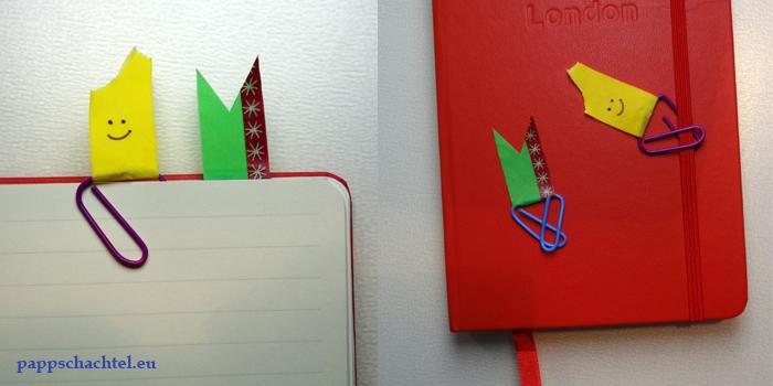 Büroklammer-Lesezeichen mit Washitape oder Maskingtape - drei weitere tolle Ideen