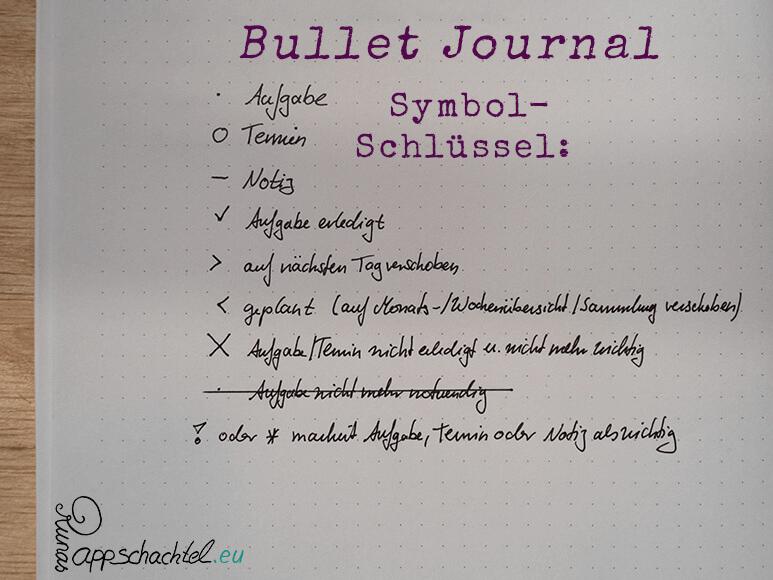 Bullet Journal System Schlüssel pappschachtel.eu