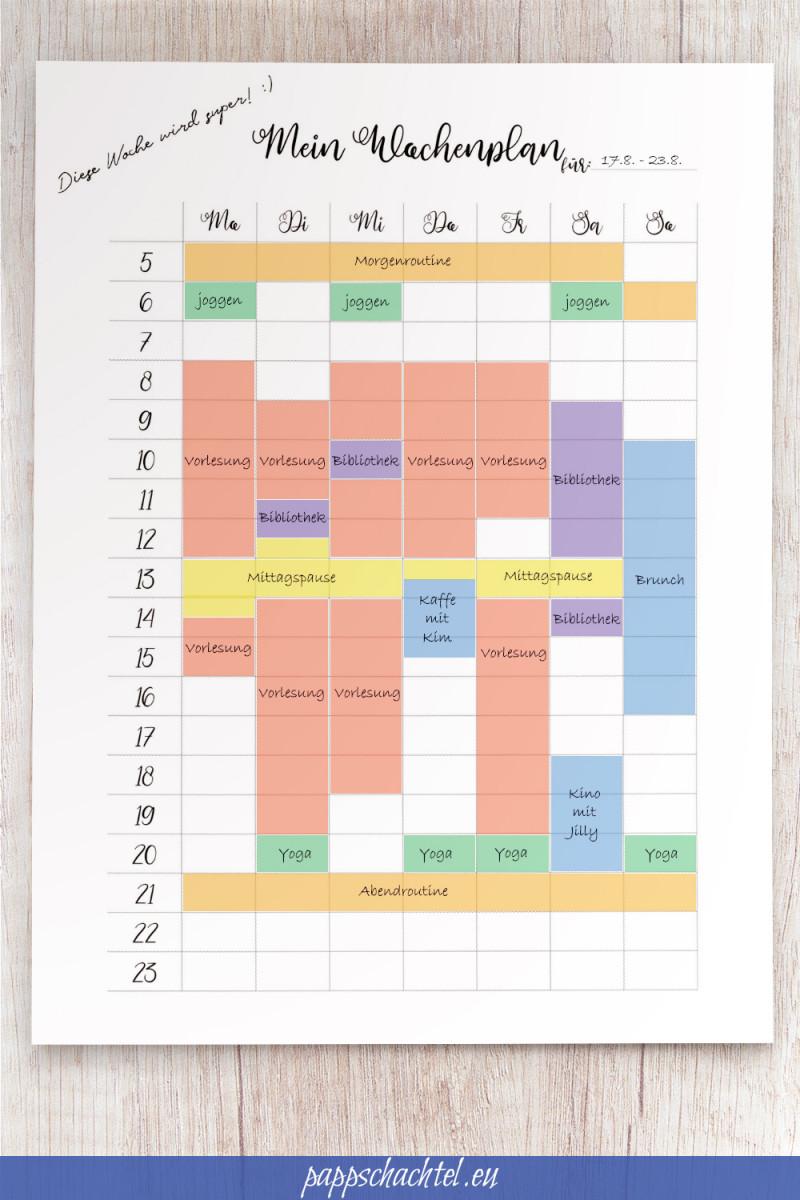 Mein Wochenplan Komplettansicht pappschachtel.eu